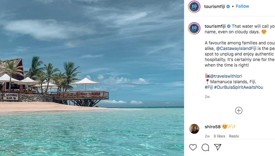Imagen tomada del perfil oficial en Instagram de las islas Fiji, en el que se promociona este destino paradisíaco.
