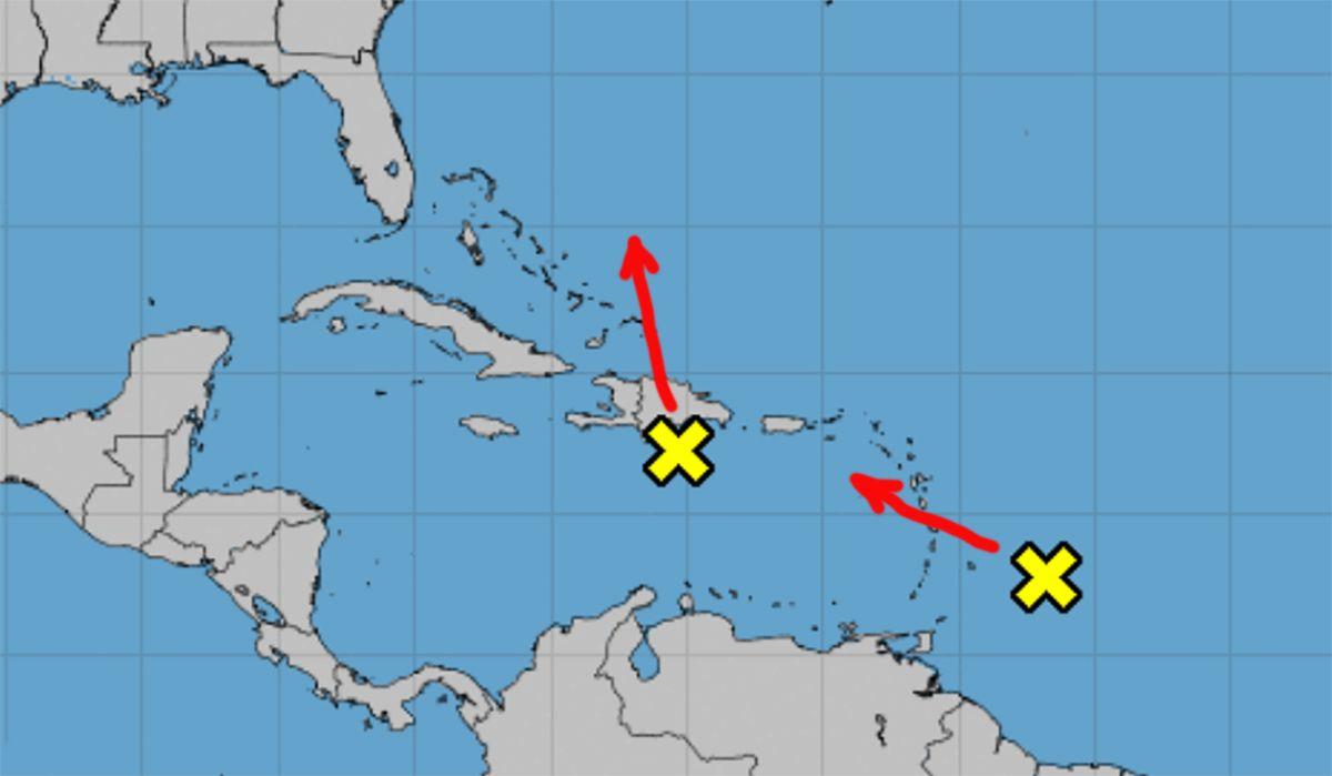 Proyecciones de dos zonas de mal tiempo, 11 de octubre de 2021.