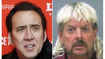 En esta combinación de fotos, Nicolas Cage en el estreno de Mandy en el Festival de Cine de Sundance 2018 y un retrato de fichaje proporcionado por la Prisión del Condado de Santa Rosa en Milton, Florida con Joseph Maldonado-Passage, conocido como Joe Exotic.