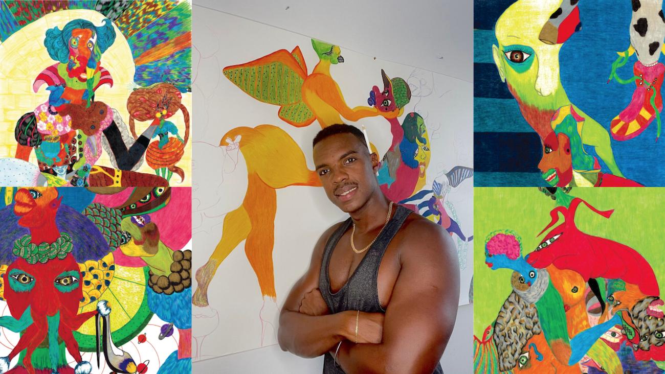 El artista cubano Ray Tenorio junto a algunas de sus obras.