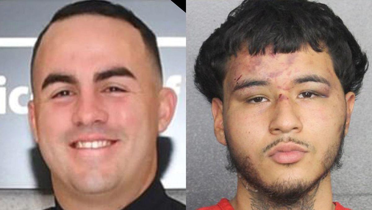 El oficial Yandy Chirino y el señalado autor del crimen Jason Banegas.