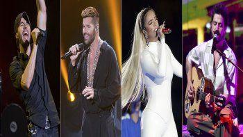En esta combinación de fotos, de izquierda a derecha, Enrique Iglesias, Ricky Martin, Karol G y Camilo, quienes están entre los múltiples artistas latinos que han anunciado su gira pospandemia por Estados Unidos.