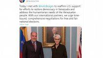 Sherman y Julio Borges enfatizaron la urgente necesidad de negociaciones integrales y con plazos concretos en Venezuela, dijo el portavoz del Departamento de Estado, Ned Price.