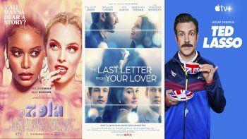 En esta combinación de fotos, el arte promocional de Zola, disponible el viernes on demand; The Last Letter From Your Lover, que se estrena el viernes en Netflix, y Ted Lasso, cuya segunda temporada debuta el mismo día en Apple TV+.