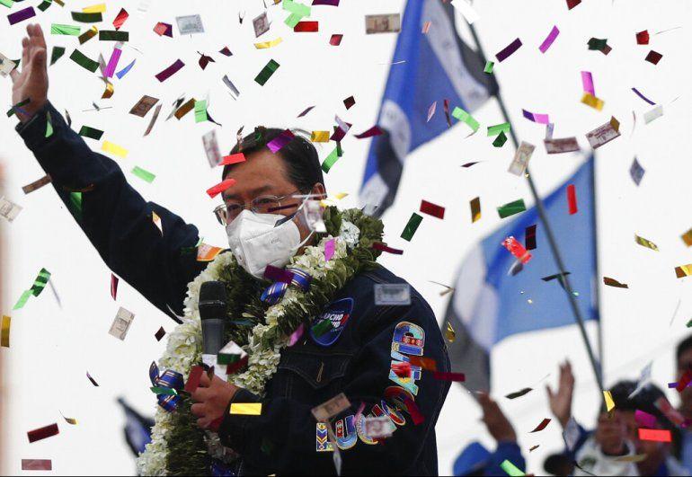 El candidato presidencial boliviano del Movimiento al Socialismo (MAS)