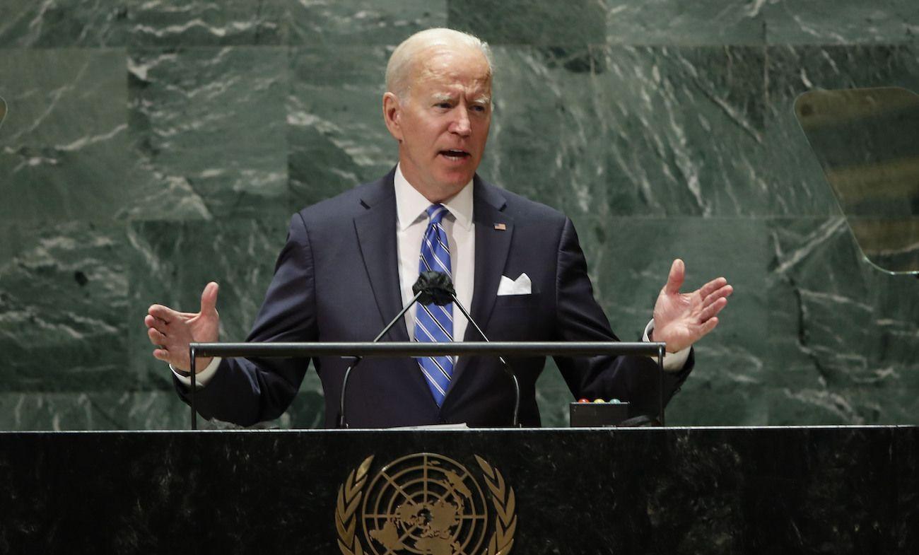 El presidente estadounidense Joe Biden habla en la 76ta sesión de la Asamblea General de las Naciones Unidas en la sede de la ONU en Nueva York, martes 21 de setiembre de 2021.