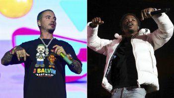 En esta combinación de fotos, J Balvin, a la izquierda, actúa en Lollapalooza en Chicago el 3 de agosto de 2019, y Roddy Ricch actúa en el BET Experience en Los Angeles el 21 de junio de 2019. Ambos artistas cancelaron sus presentaciones previstas para este domingo en los Premios MTV a los Videos Musicales.