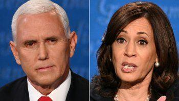Esta combinación de imágenes creadas el 7 de octubre de 2020 muestra al vicepresidente estadounidense Mike Pence y a la candidata demócrata a la vicepresidencia y senadora de California Kamala Harris durante el debate vicepresidencial en Kingsbury Hall en la Universidad de Utah el 7 de octubre de 2020 en Salt Lake, Utah.