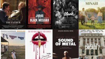 En esta combinación de fotos, los pósters de las nominadas al Oscar a la Mejor película The Father, Judas and the Black Messiah, Mank, Minari, Nomadland, Promising Young Woman, Sound of Metal y The Trial of the Chicago 7.