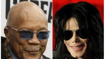 Esta foto combinada muestra a Quincy Jones en el estreno mundial de Black Godfather en Los Angeles el tres de junio de 2019, izquierda, y Michael Jackson en una conferencia de prensa en Londres el cinco de marzo de 2009.