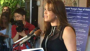 En esta foto del 15 de junio de 2016, Alicia Machado durante una conferencia de prensa realizada en un restaurante en Arlington, Virginia. AP/ Luis Alonso Lugo, archivo
